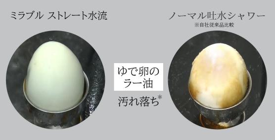 殻をむいたゆで卵を用いた洗浄検証の画像